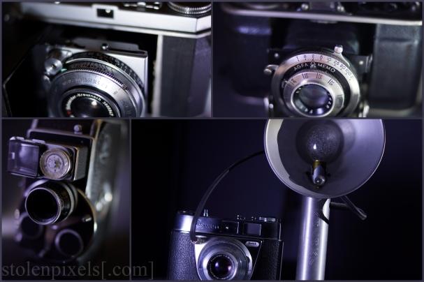 Clockwise, top left first: Kodak Retina 1a, Agfa Memo f/4.5, Kodak Retinette 1A, Bolex Paillard D8L